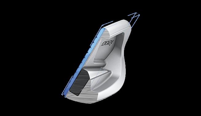 cross-section: La face est 30% plus mince par rapport au modèle précédent, ce qui crée une surface de frappe plus rapide pour plus de distance et une trajectoire à la hauteur des circuits.